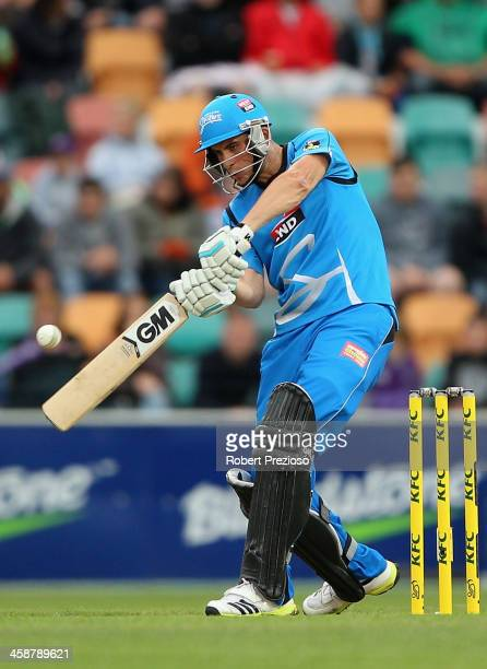 Alex Hales of the Strikers plays a shot during the Big Bash League match between the Hobart Hurricanes and the Adelaide Strikers at Blundstone Arena...
