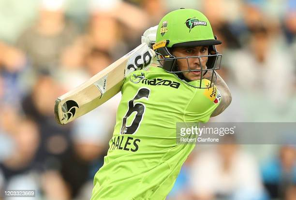 Alex Hales of the Sydney Thunder bats during the Big bash League Finals match between the Adelaide Strikers and the Sydney Thunder at Adelaide Oval...