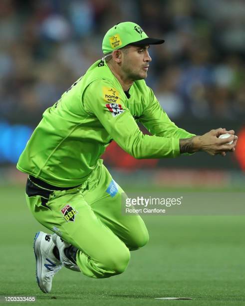 Alex Hales of the Sydney Thunder takes a catch to dismiss Phil Salt of the Strikers during the Big bash League Finals match between the Adelaide...