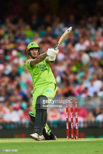 Alex Hales of the Thunder bats during the Big Bash League match between the Sydney Sixers and the Sydney Thunder at the Sydney Cricket Ground on...