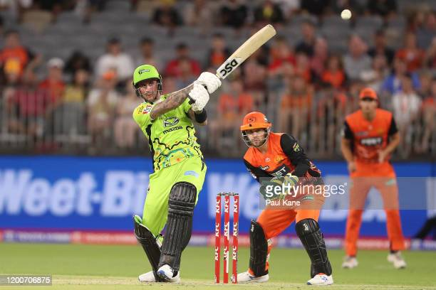 Alex Hales of the Thunder bats during the Big Bash League match between the Perth Scorchers and the Sydney Thunder at Optus Stadium on January 20,...