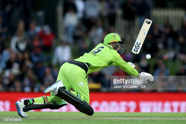 Alex Hales of the Thunder bats during the Big Bash League match between the Hobart Hurricanes and the Sydney Thunder at Blundstone Arena on January...