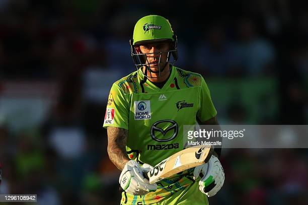Alex Hales of the Thunder bats during the Big Bash League match between the Sydney Thunder and the Sydney Sixers at Manuka Oval, on January 13 in...