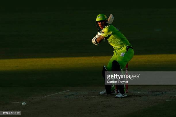 Alex Hales of the Thunder bats during the Big Bash League match between the Sydney Thunder and the Hobart Hurricanes at Manuka Oval, on January 18 in...