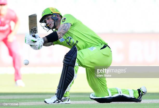 Alex Hales of the Thunder bats during the Big Bash League match between the Sydney Sixers and the Sydney Thunder at Adelaide Oval, on January 22 in...