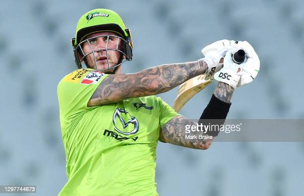 Alex Hales of the Thunder hits four during the Big Bash League match between the Sydney Sixers and the Sydney Thunder at Adelaide Oval, on January 22...