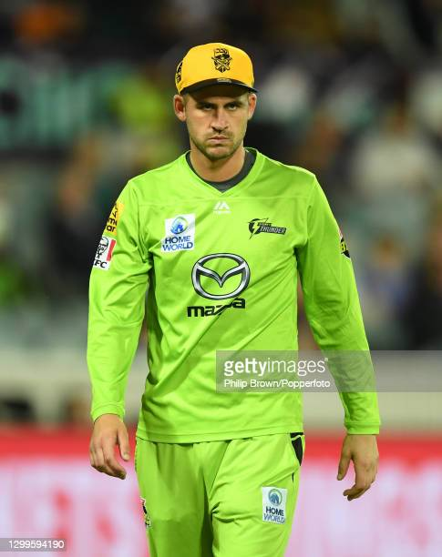 Alex Hales of Thunder looks on during the Big Bash League match between the Sydney Thunder and the Brisbane Heat at Manuka Oval, on January 31 in...
