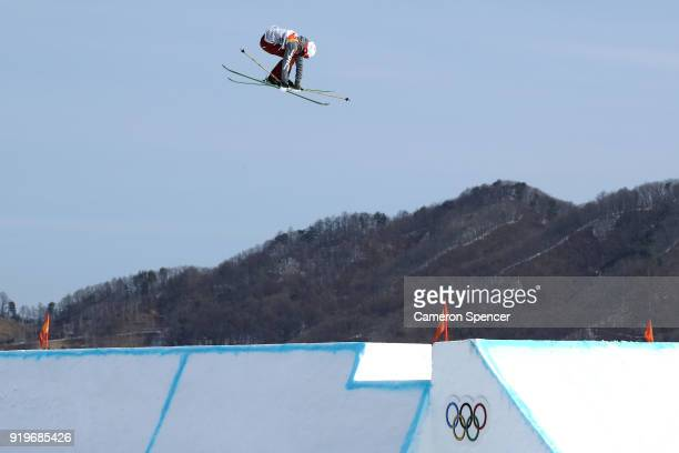 Alex Hall of the United States competes during the Freestyle Skiing Men's Ski Slopestyle qualification on day nine of the PyeongChang 2018 Winter...