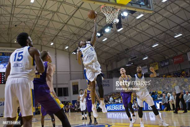 Alex Hamilton of the Santa Cruz Warriors drives to the basket against the South Bay Lakers during an NBA GLeague game on November 4 2017 at Kaiser...