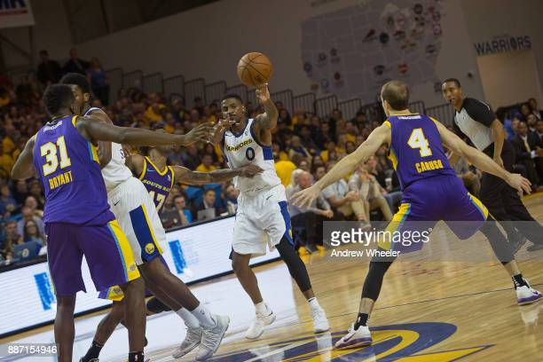 Alex Hamilton of the Santa Cruz Warriors passes the ball against the South Bay Lakers during an NBA GLeague game on November 4 2017 at Kaiser...