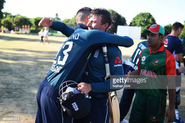 Alex Hammond is hugged by Hugo Hammond of England after the Vitality IT20 Physical Disability TriSeries match between England and Bangladesh at...