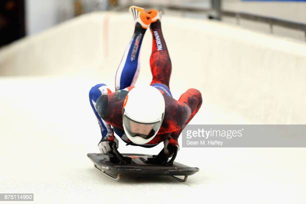 Alex Hanssen of Norway takes a training run in the Men's Skeleton during the BMW IBSF Bobsleigh + Skeleton World Cup at Utah Olympic Park November...
