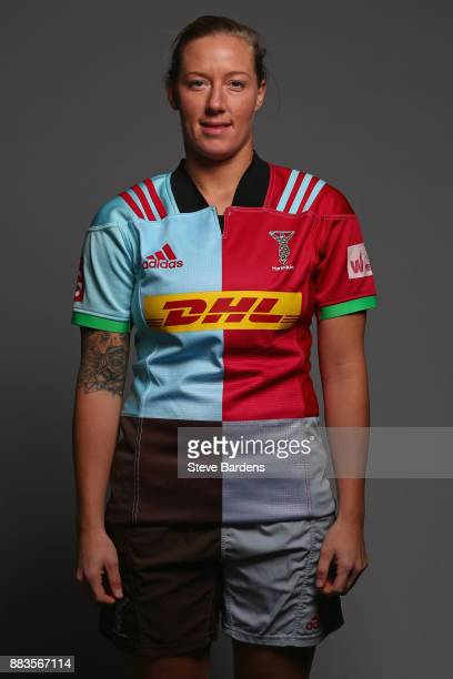 Alex Hardy poses for a portrait during the Harlequins Ladies Squad Photo call for the 2017/18 Tyrrells Premier 15s Season at Surrey Sports Park on...