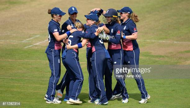 Alex Harley of England celebrates the wicket of Beth Mooney of Australia during the ICC Women's World Cup 2017 match between England and Australia at...