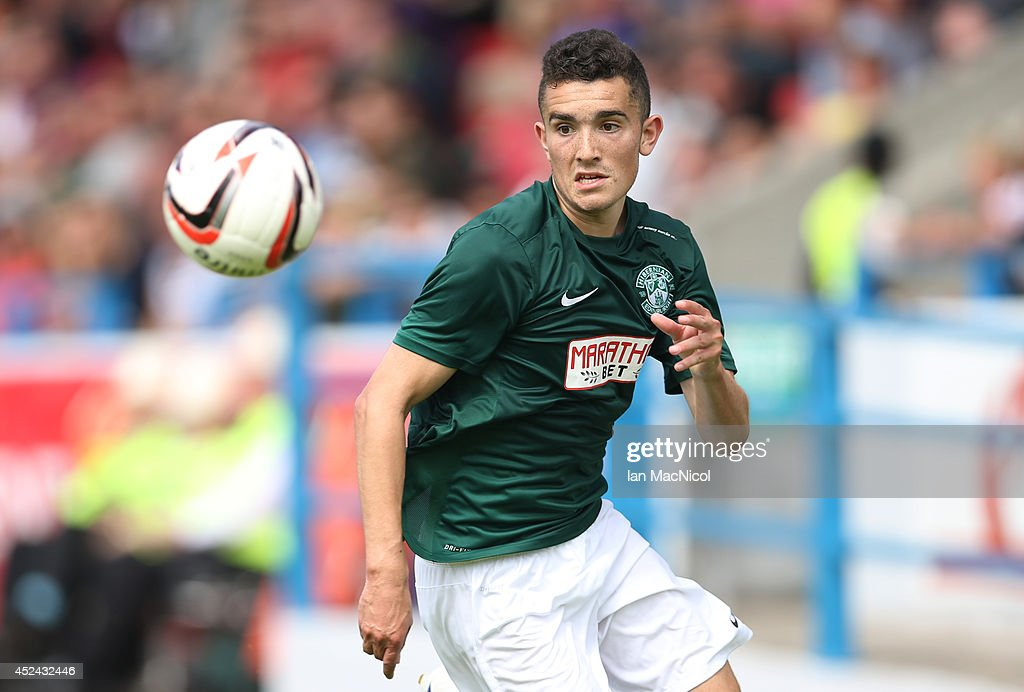 Alex Harris of Hibernian chases the ball during the Pre Season Friendly match between Stirling Albion and Hibernian at Forthbank Stadium on July 20, 2014 in Stirling, Scotland.