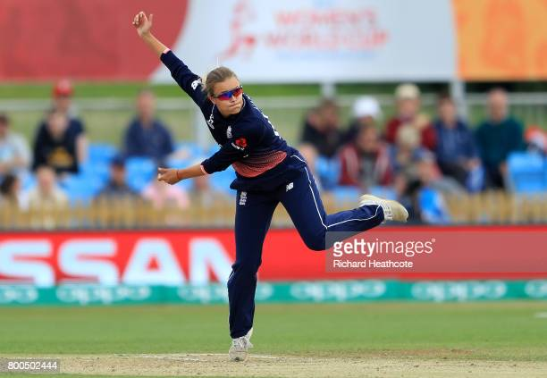 Alex Hartley of England bowls during the England v India group stage match at the ICC Women's World Cup 2017 at The 3aaa County Ground on June 24...