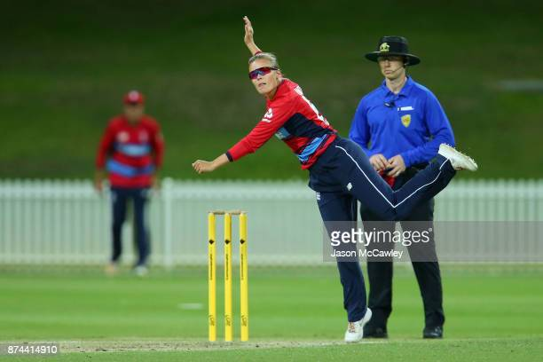 Alex Hartley of England bowls during the T20 match between the GovernorGeneral's XI and England at Drummoyne Oval on November 15 2017 in Sydney...