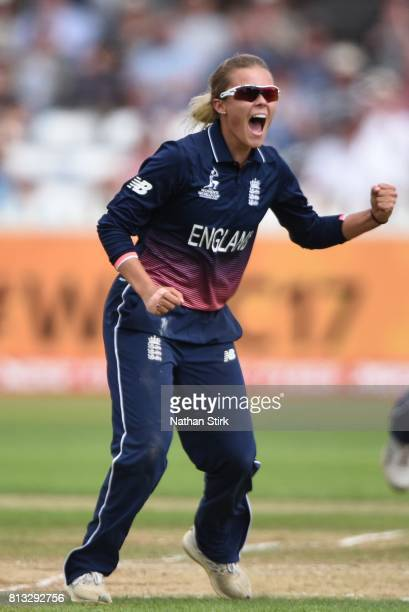 Alex Hartley of England celebrates after getting Sophie Devine of New Zealand out during the ICC Women's World Cup 2017 between England and New...