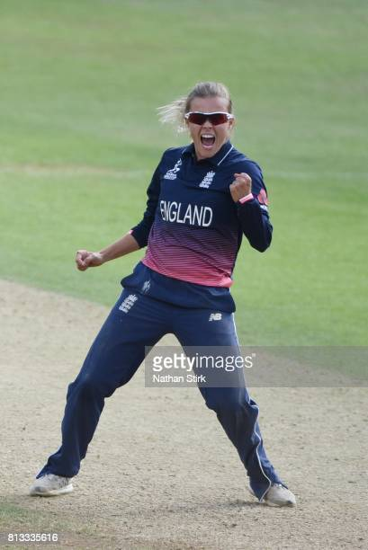 Alex Hartley of England celebrates getting the last wicket of the game during the ICC Women's World Cup 2017 between England and New Zealand at The...