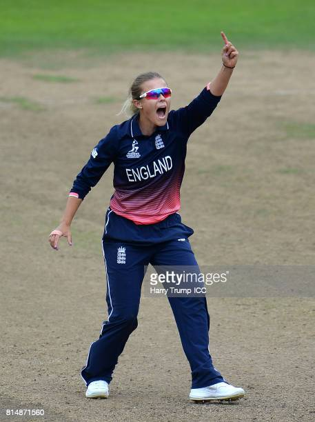 Alex Hartley of England celebrates the wicket of Hayley Matthews of West Indies during the ICC Women's World Cup 2017 match between England and the...