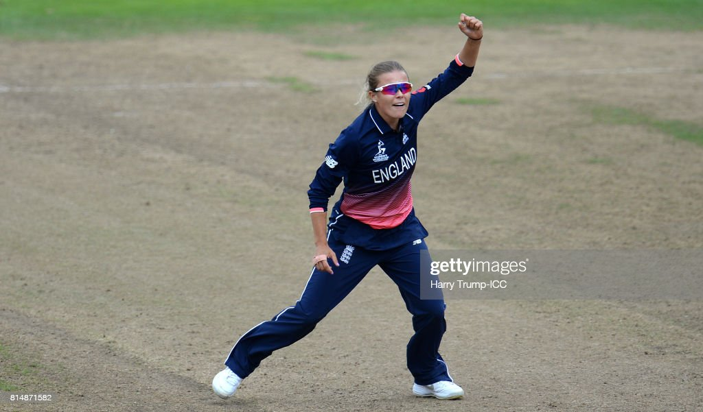 Alex Hartley of England celebrates the wicket of Hayley Matthews of West Indies during the ICC Women's World Cup 2017 match between England and the West Indies at The County Ground on July 15, 2017 in Bristol, England.