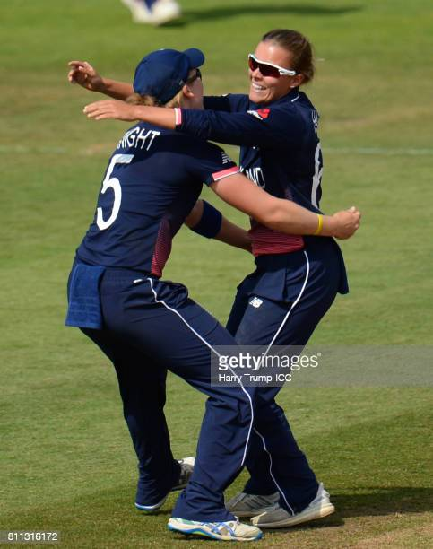 Alex Hartley of England celebrates the wicket of Meg Lanning of Australia during the ICC Women's World Cup 2017 match between England and Australia...