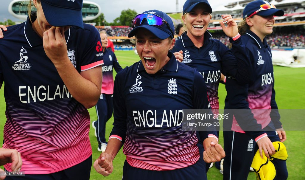Alex Hartley of England celebrates victory during the ICC Women's World Cup 2017 Final between England and India at Lord's Cricket Ground on July 23, 2017 in London, England.