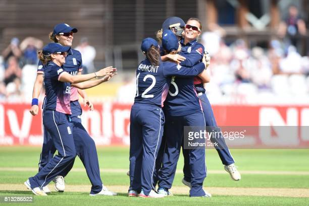 Alex Hartley of England celebrates with her team mates after getting Suzie Bates of New Zealand out during the ICC Women's World Cup 2017 between...