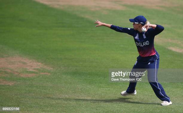 Alex Hartley of England during the ICC Women's World Cup warm up match between England and New Zealand at The County Ground on June 21 2017 in Derby...