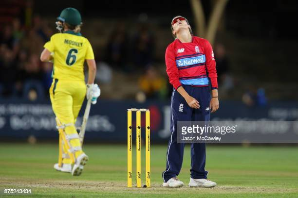 Alex Hartley of England reacts during the first Women's Twenty20 match between Australia and England at North Sydney Oval on November 17 2017 in...