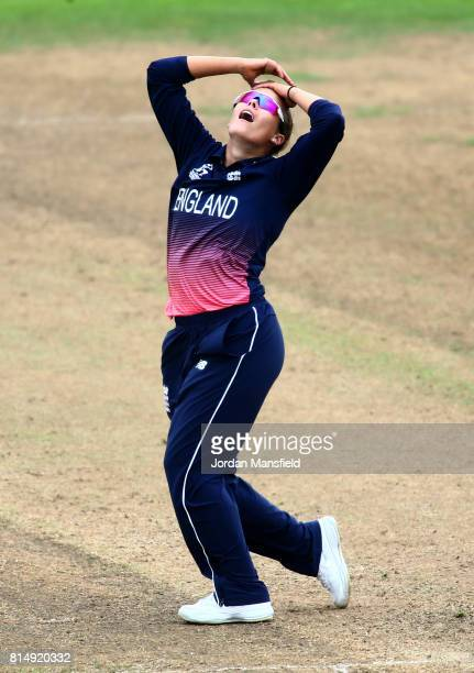 Alex Hartley of England reacts during the ICC Women's World Cup 2017 match between England and West Indies at The County Ground on July 15 2017 in...