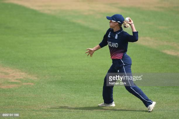 Alex Hartley of England throws the ball during the ICC women's world cup warm up match between England Women's and New Zealand on June 21 2017 in...