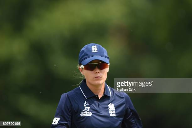 Alex Hartley of England Women's in action during the ICC women's world cup warm up match between England Women's and Sri Lanka on June 19 2017 in...