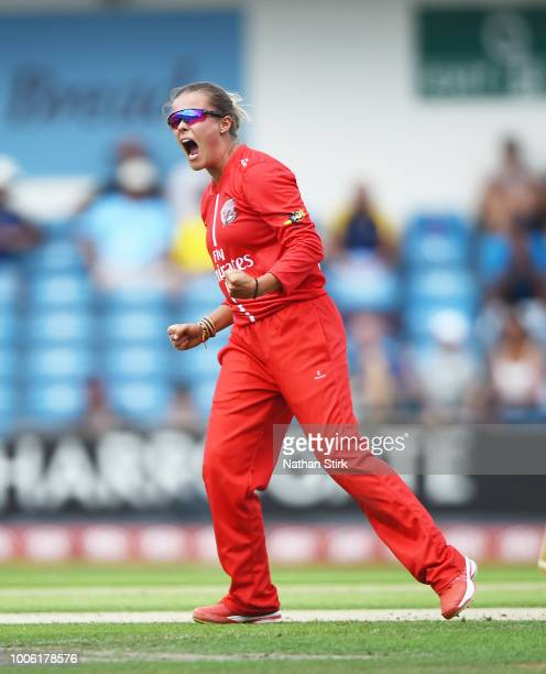 Alex Hartley of Lancashire celebrates after getting a wicket during the Kia Super League match between Yorkshire Diamonds and Lancashire Thunder at...