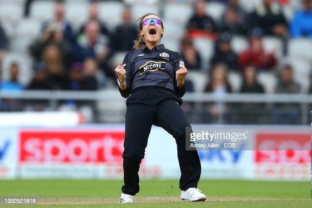 Alex Hartley of Manchester Originals celebrates a wicket during The Hundred match between Manchester Original and Southern Brave at Emirates Old...