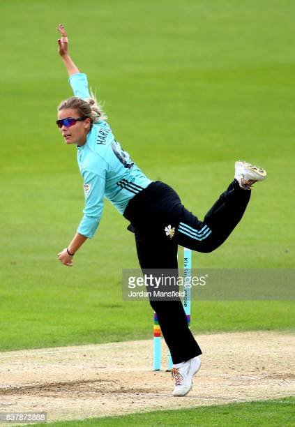 Alex Hartley of Surrey bowls during the Kia Super League match between Surrey Stars and Western Storm at The Kia Oval on August 23 2017 in London...
