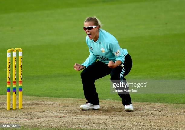 Alex Hartley of Surrey celebrates dismissing Lauren Winfield of Yorkshire during the Kia Super League match between Surrey Stars and Yorkshire...