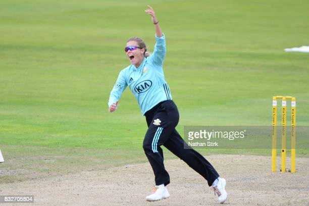 Alex Hartley of Surrey Stars celebrates after getting a wicket during the Kia Super League 2017 match between Lancashire Thunder and Surrey Stars at...