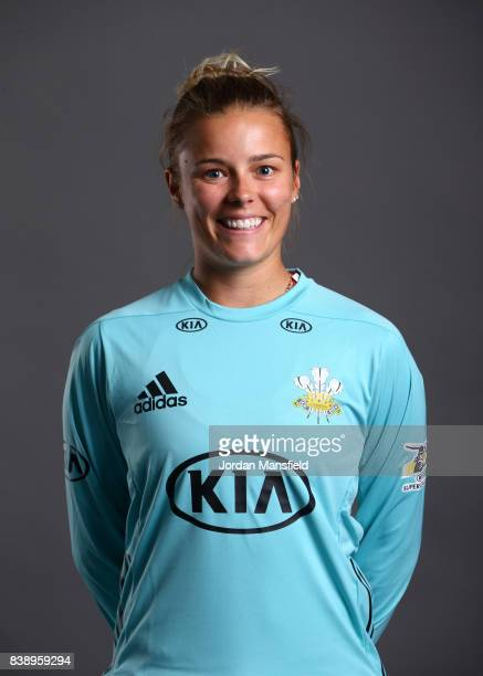 Alex Hartley of Surrey Stars poses for a portrait during the Surrey Stars Photo Shoot at the Surrey Cricket Centre on August 7 2017 in Guildford...