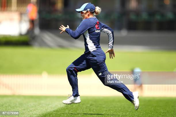 Alex Hartley runs during an England women's Ashes series training session at North Sydney Oval on November 7 2017 in Sydney Australia