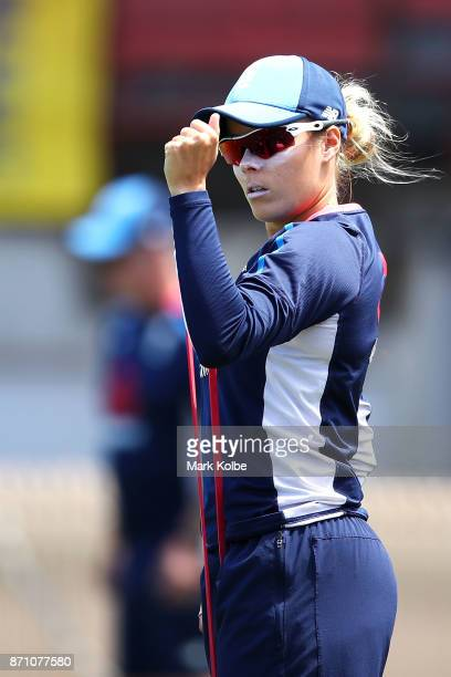 Alex Hartley stretches during an England women's Ashes series training session at North Sydney Oval on November 7 2017 in Sydney Australia