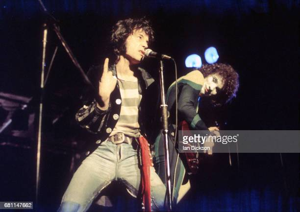 Alex Harvey and Zal Cleminson of The Sensational Alex Harvey Band performing on stage at Rainbow Theatre, London, 07 June 1974.