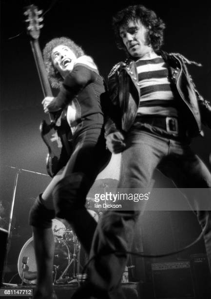 Alex Harvey and Zal Cleminson of The Sensational Alex Harvey Band performing on stage at Rainbow Theatre London 07 June 1974