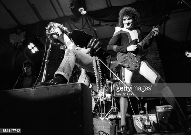 Alex Harvey and Zal Cleminson of The Sensational Alex Harvey Band performing on stage at Reading Festival Reading United Kingdom 23 August 1974