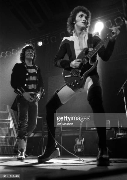 Alex Harvey and Zal Cleminson of The Sensational Alex Harvey Band performing on stage at City Hall NewcastleuponTyne 01 May 1975
