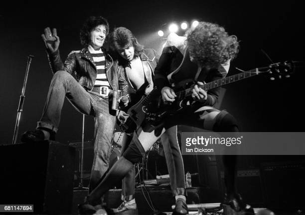 Alex Harvey, Chris Glen and Zal Cleminson of The Sensational Alex Harvey Band performing on stage at Rainbow Theatre, London, 07 June 1974.