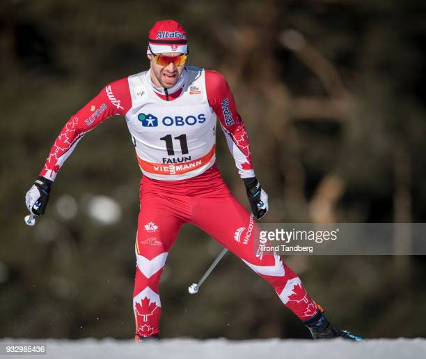 Alex Harvey of Canada during sprint prolog men free at Lugnet Stadium on March 16 2018 in Falun Sweden