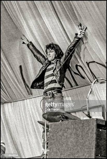 Alex Harvey of The Sensational Alex Harvey Band performs on stage at Stoke City Football Club United Kingdom 17th May 1975