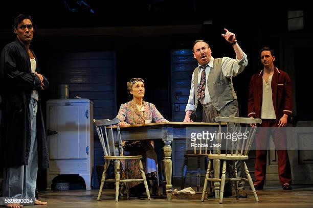 Alex Hassell as Biff, Harriet Walter as Linda Loman, Antony Sher as Willy Loman and Sam Marks as Happy in the Royal Shakespeare Company's production...