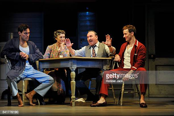 Alex Hassell as Biff Harriet Walter as Linda Loman Antony Sher as Willy Loman and Sam Marks as Happy in the Royal Shakespeare Company's production of...